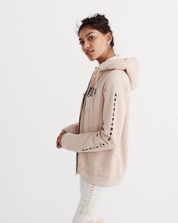 ANF Faux Fur Logo Hoodie
