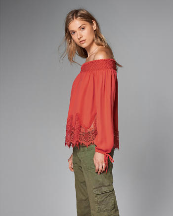 ANF Off-The-Shoulder Lace Hem Peasant Top