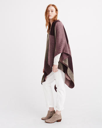 ANF Patterned Blanket Poncho