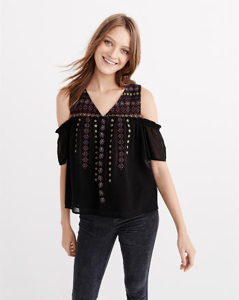 ANF Embellished Cold Shoulder Top