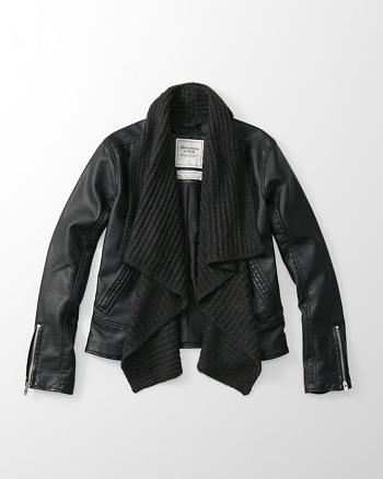 ANF Drape Faux Leather Jacket