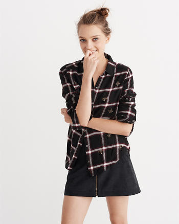 ANF Embellished Flannel Button-Up Shirt