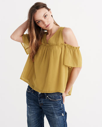 ANF Short Sleeve Cold Shoulder Top