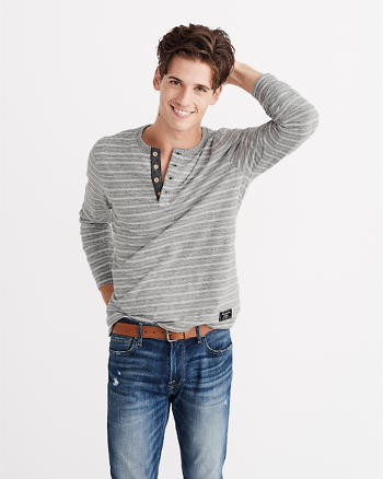 ANF Striped Long-Sleeve Henley