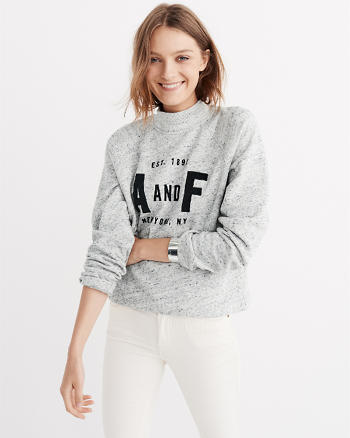 ANF Graphic Mock Neck Sweatshirt