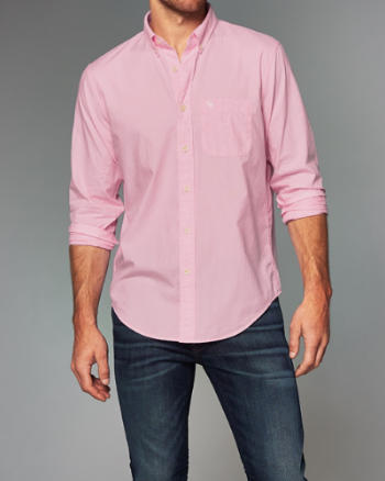 Mens Patterned Cotton Poplin Shirt