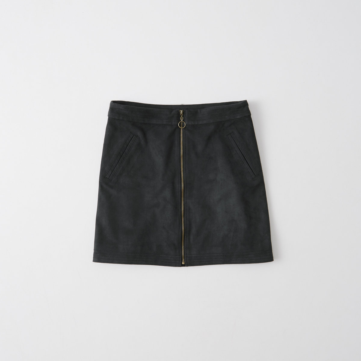 Faux Suede Zip A-Line Skirt