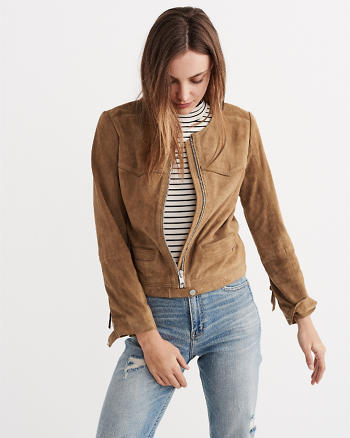 ANF Genuine Suede Collarless Jacket