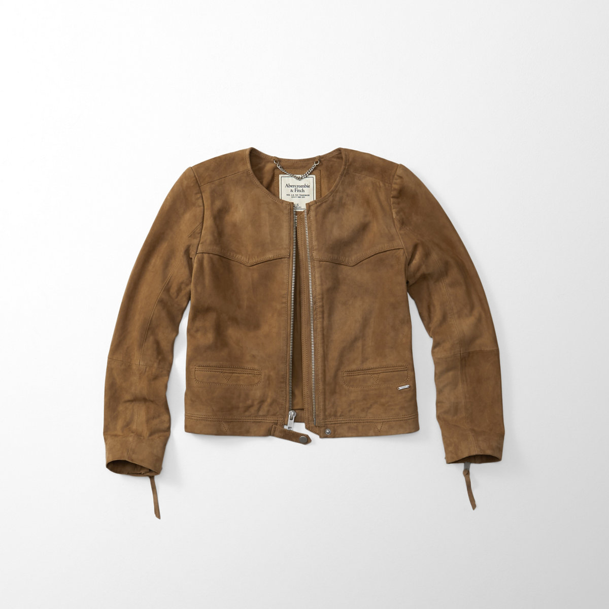 Genuine Suede Collarless Jacket
