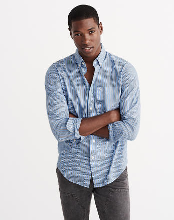 ANF Relaxed Fit Patterned Poplin Shirt