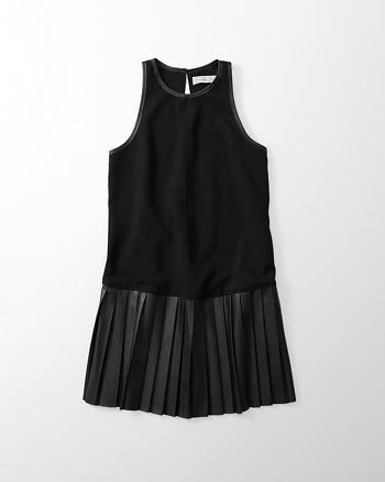 ANF Pleated Faux Leather Dress