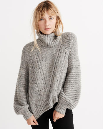 ANF Puff Sleeve Cable Turtleneck Sweater