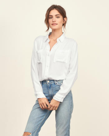 Womens Drapey Pocket Shirt