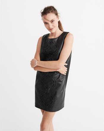 ANF Faux Leather Cutwork Dress