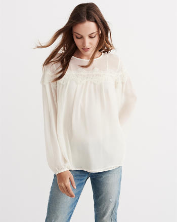 ANF Lace Yoke Peasant Top