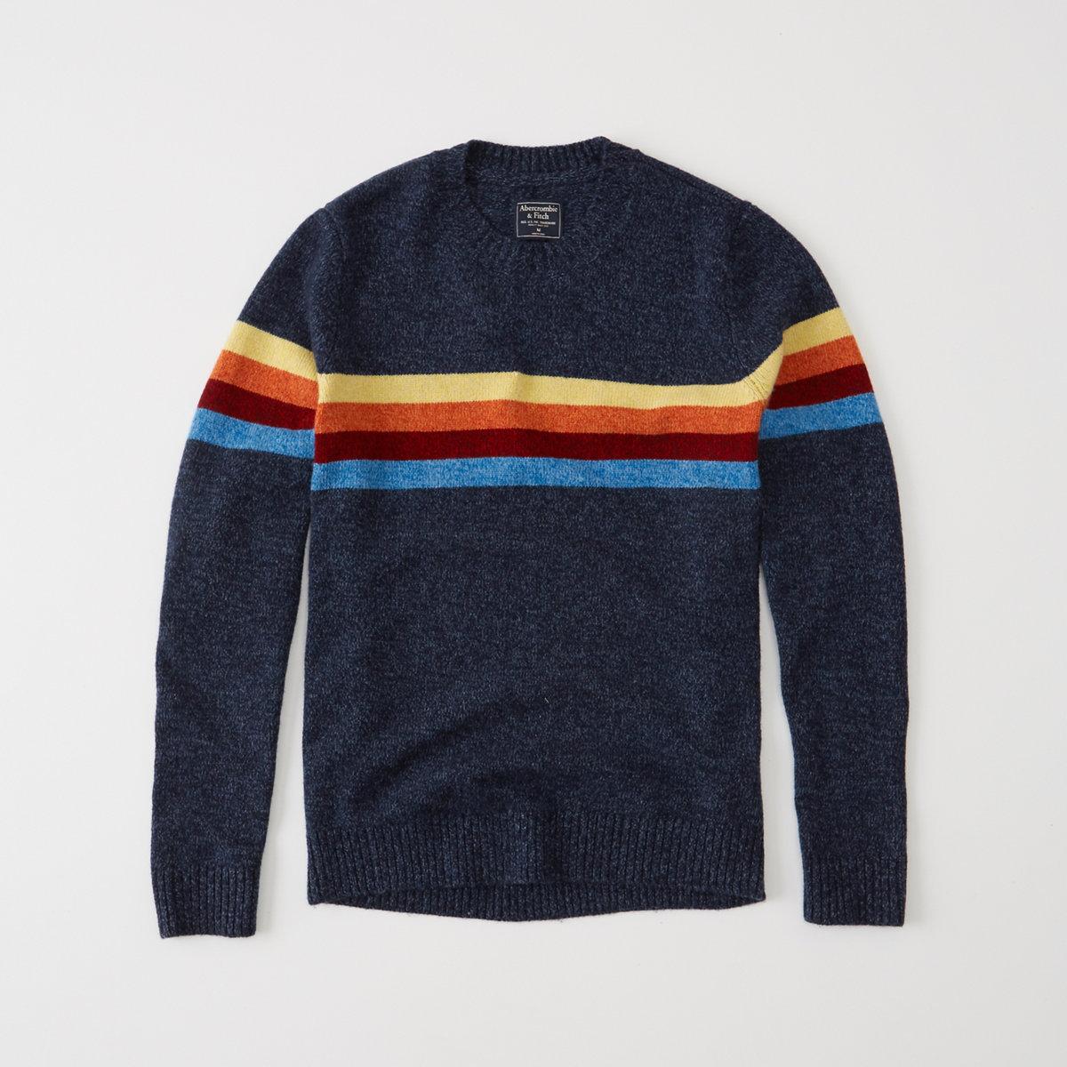Rainbow Striped Crew Sweater