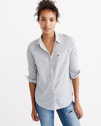 ANF Print Mix Poplin Shirt