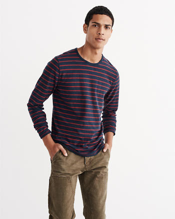 ANF Long-Sleeve Striped Crew Tee