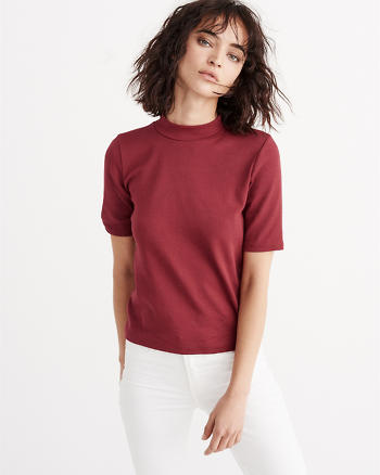 ANF Slim Mock Neck Tee
