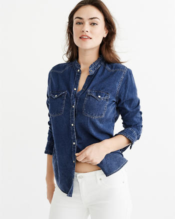 ANF Ruffle-Collar Denim Shirt