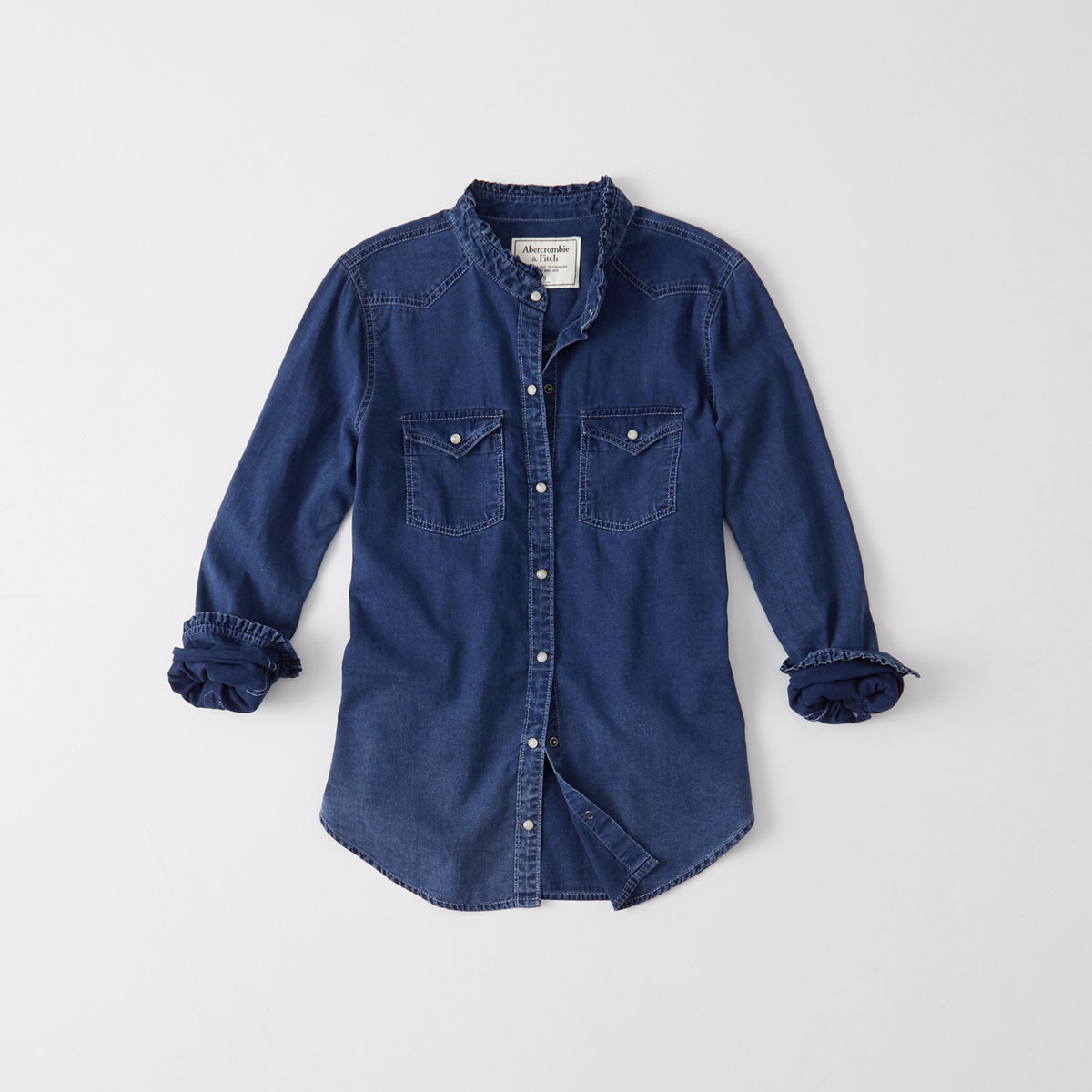 Ruffle-Collar Denim Shirt
