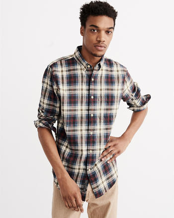 ANF Relaxed Fit Washed Flannel Shirt