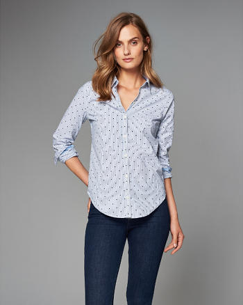 ANF Patterned Poplin Button-Up Shirt