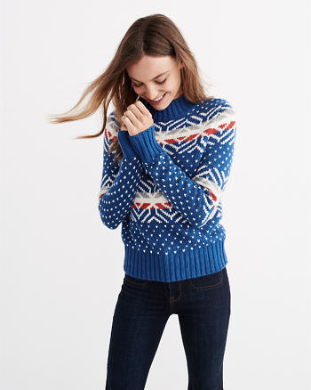 ANF Moose Fairisle Mock Neck Sweater
