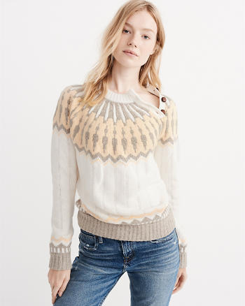 ANF Yoke Pattern Button Sweater