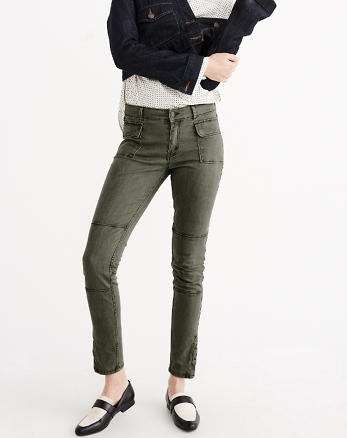 ANF Olive Military Super Skinny Jeans