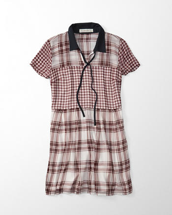 ANF Plaid Waisted Shirtdress
