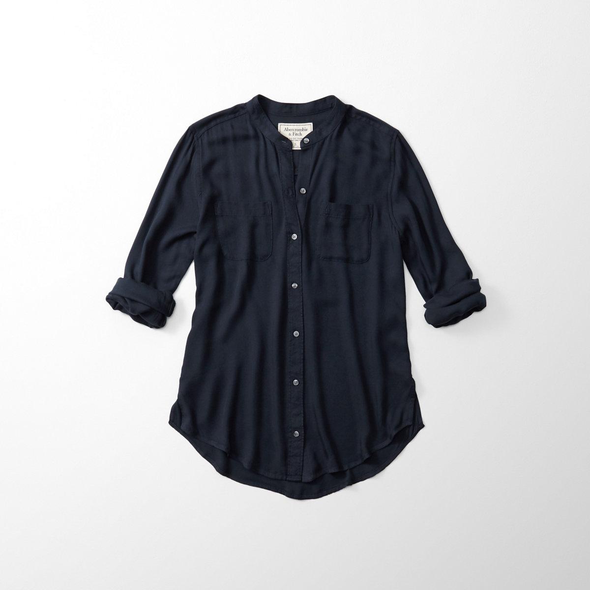 Mandarin Drapey Button-Up Shirt