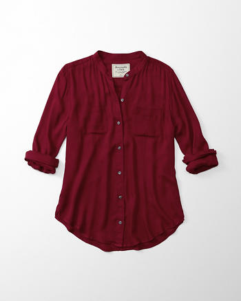 ANF Mandarin Drapey Button-Up Shirt