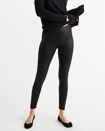 ANF Faux Leather Panel Leggings