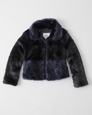 ANF Striped Faux Fur Coat