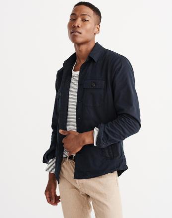 ANF Stretch Garment Dye Shirt Jacket