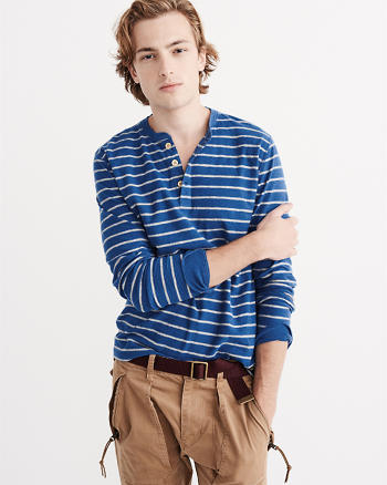 ANF Long-Sleeve Striped Henley