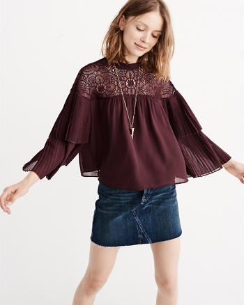 ANF Lace Yoke Pleated Blouse