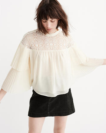 ANF Lace Mock Neck Blouse
