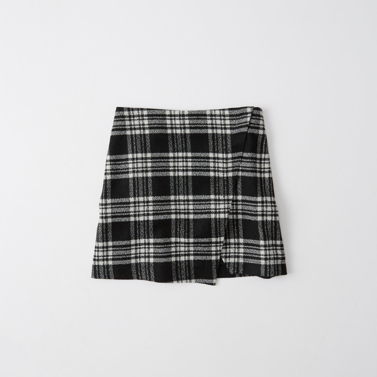 Plaid Wool-Blend Wrap Skirt