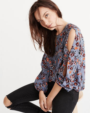 ANF Beaded-Trim Peasant Top