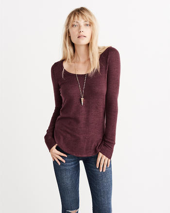 ANF Fuzzy Scoop Neck Tee