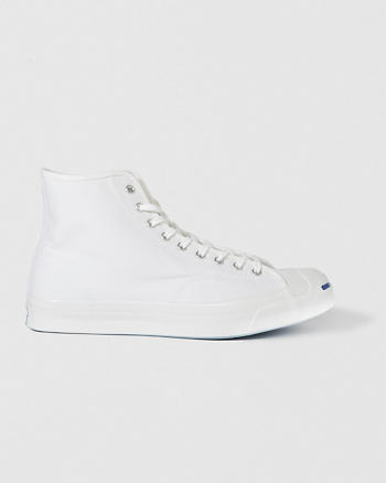 ANF Converse Jack Purcell Signature White Leather High Top Sneaker