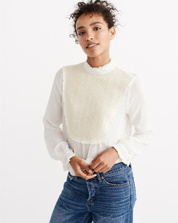 ANF Lace Bib Mock Neck Top