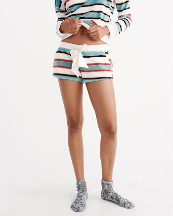 ANF Striped Velour Sleep Shorts