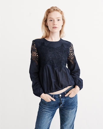 ANF Lace Pieced Blouse