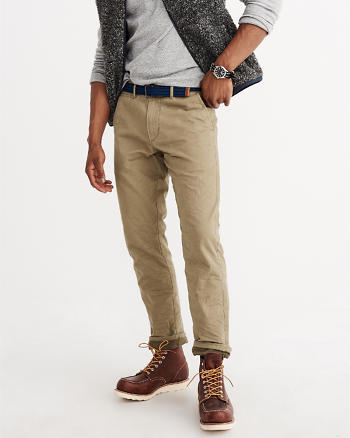 ANF Slim Straight Flannel-Lined Chino Pants