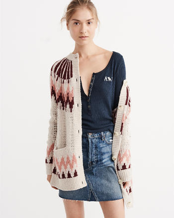 ANF Icon Waffle-Knit Henley