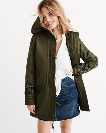 ANF Embellished Twill Parka