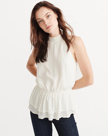 ANF Shine Peplum Mock Neck Tank